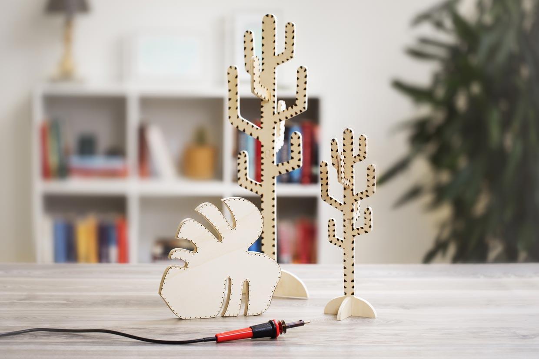 Kreativ inredning, Botanic Living: Kaktus och blad dekorerad med brännpenna
