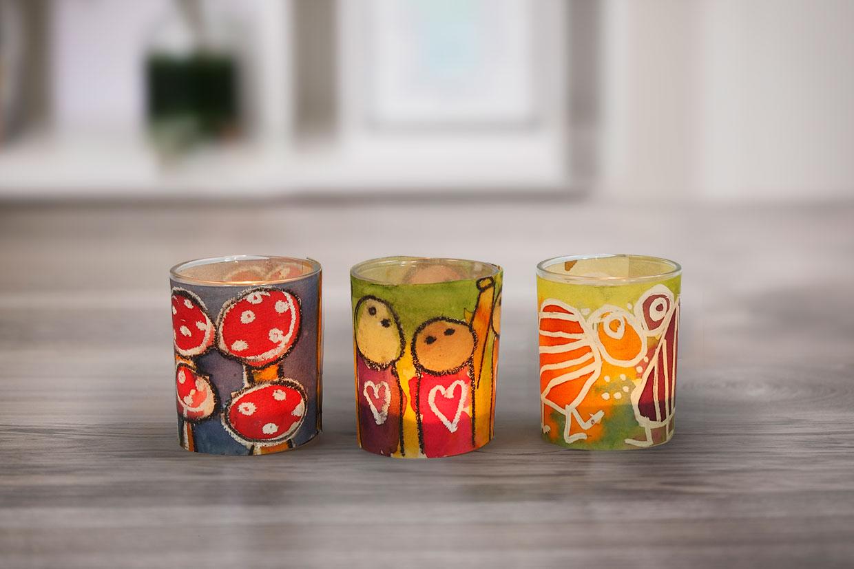 Akvarell: Ljusglas med bälte av dekorerat akvarellpapper
