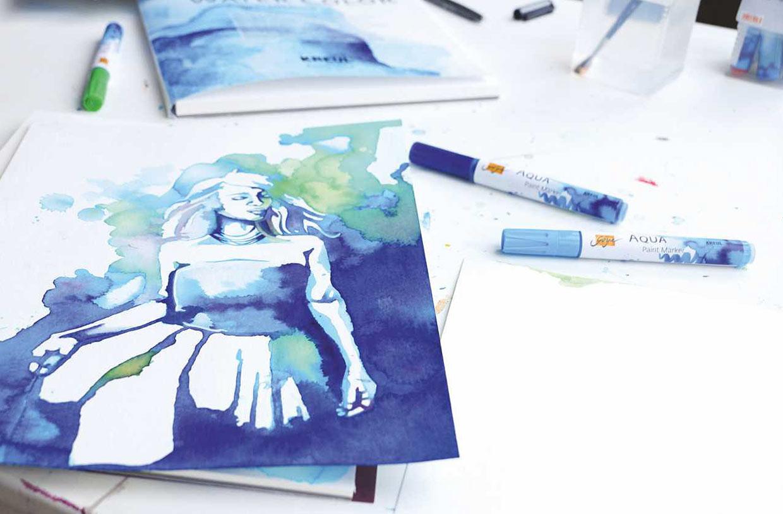 Akvarell: Illustrasjon laget med akvarellfarger på tusj