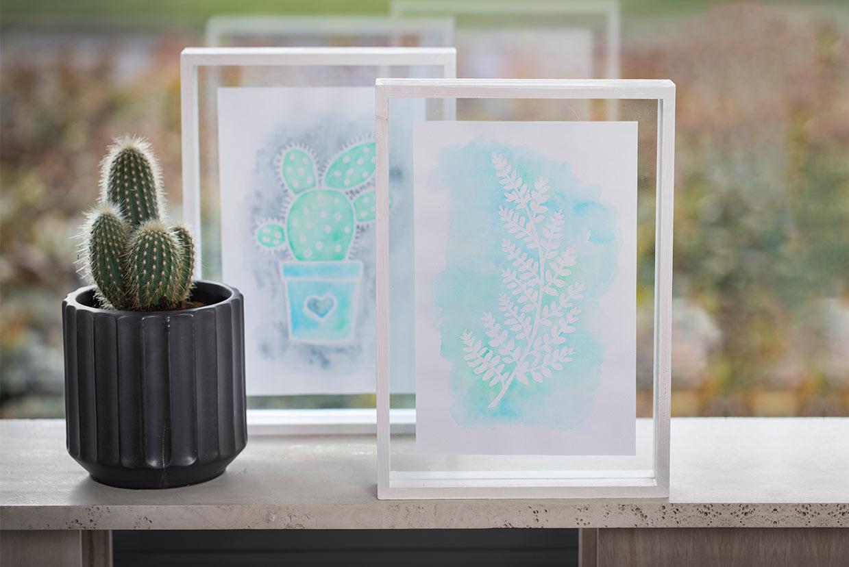 Akvarell: Bilde med opptegning av tegnegummi og Aqua Paint Marker