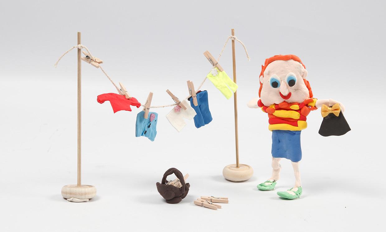 Silk Clay - Figur med tørkestativ og tøy
