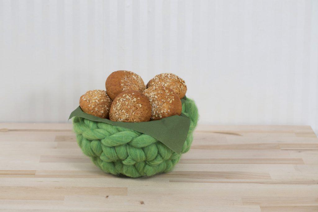 XL garn - tjockt garn virka idéer brödkorg