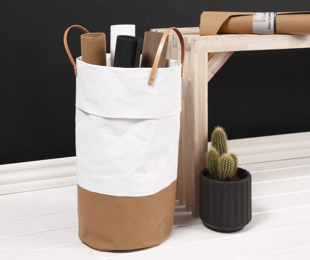 Læderpapir vasketøjskurv