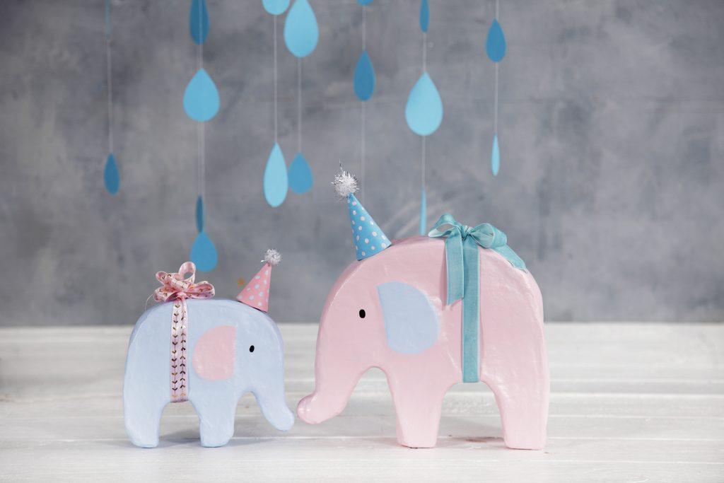 Babyshower elefant med hobbyfärg och festhatt