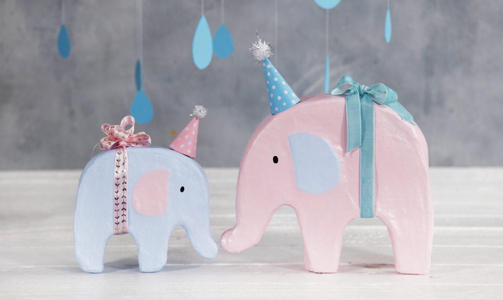 Baby shower elefant med hobbymaling og festhat