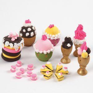 Miniature verden mini kager af Silk Clay, Foam Clay og Creamy