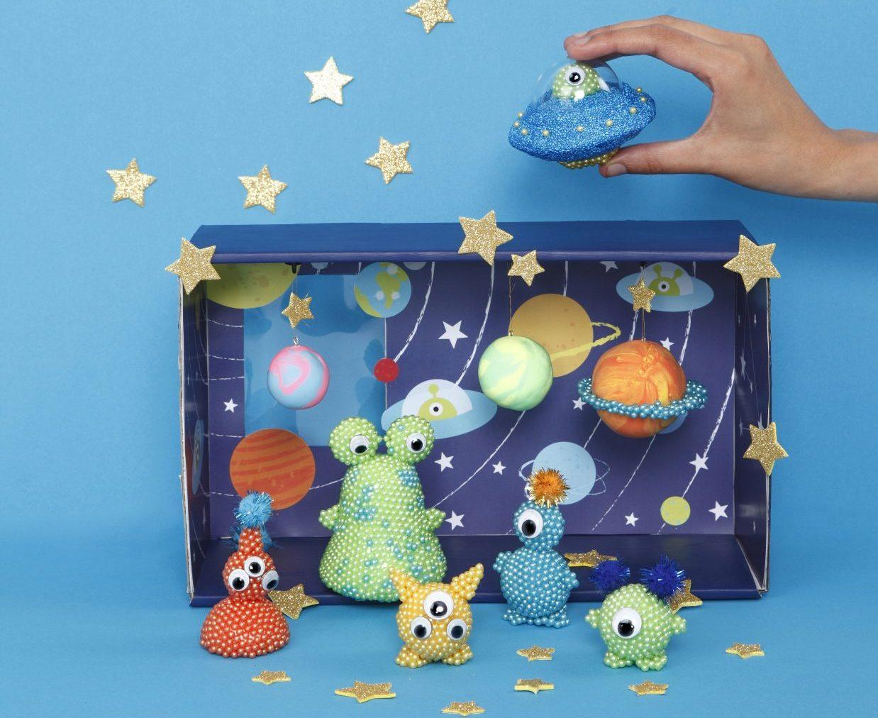 kreative idéer til børn, rumvæsner, inspiration til modellering