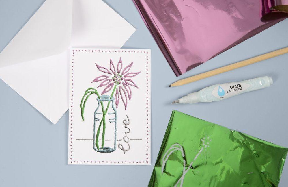 Vær kreativ med folie og limpen, dekorationsfolie til dine lav selv kort