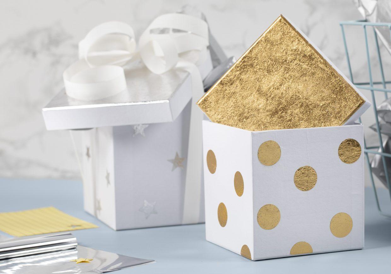 Vær kreativ med folie, dekorationsfolie i guld til din dekoration af æsker