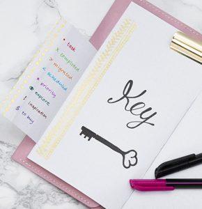 Lav selv en bullet journal og planner med key side - find inspiration og idéer her