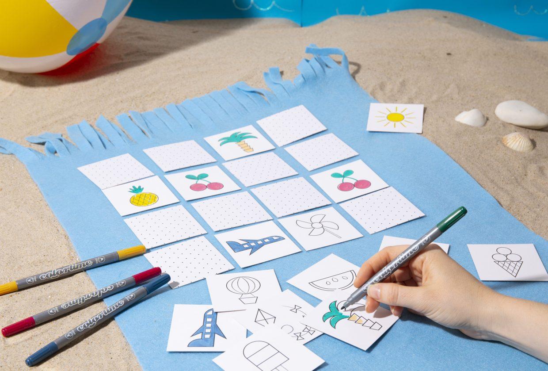 Sjov og kreativ ferie med børn - lav selv vendespil med farvelægning