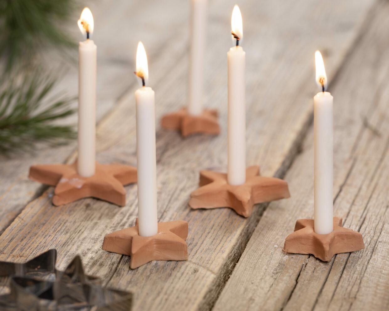 lav selv julepynt med selvhærdende ler - stjerne lysestager
