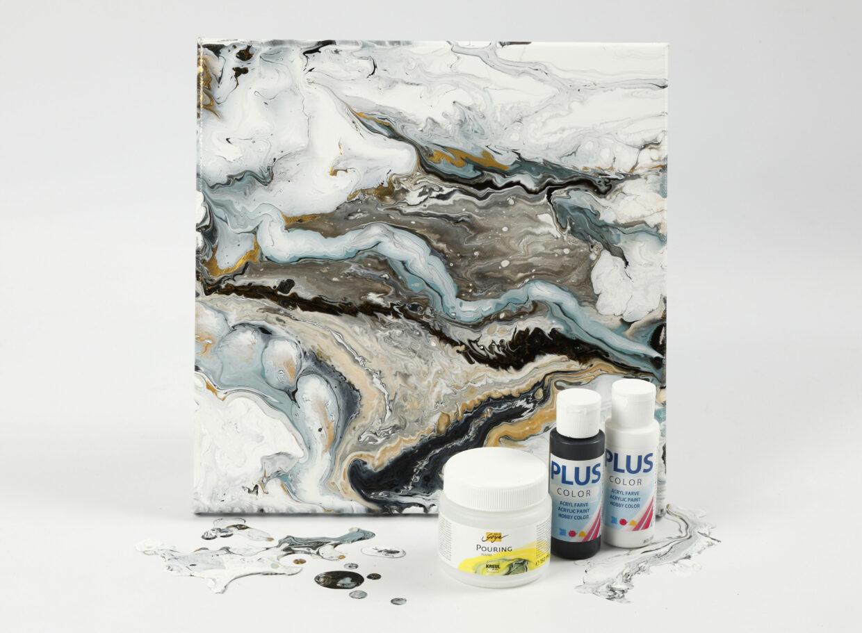 Ophæng af malerlærred med pouring-fluid og hobbymaling