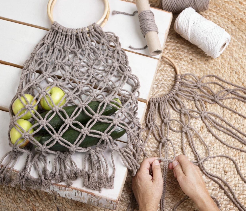 DIY macramé indkøbsnet og hjemmelavet mulepose