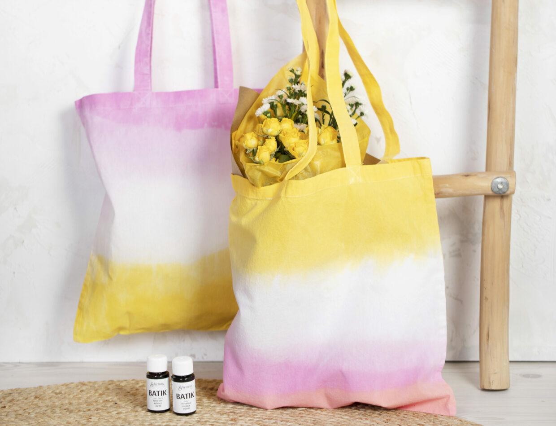 Vær kreativ med batik (tie dye), dip dye farver og tekstildekoration